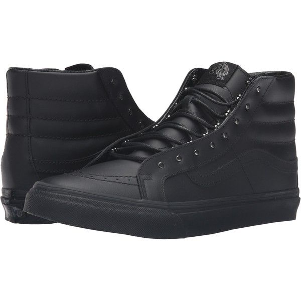 Vans SK8-Hi Slim ((Rivets) Gunmetal/Black) Skate Shoes ($41) ❤ liked on Polyvore featuring shoes, sneakers, black, black hi tops, high top shoes, vans shoes, black high tops and skate shoes