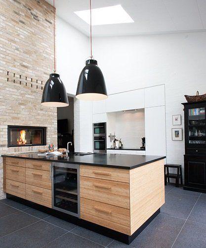 cocinas con madera y negro - Buscar con Google