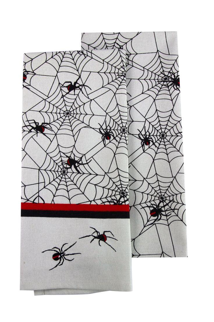 Red Back cotton tea towel #teatowel #spider