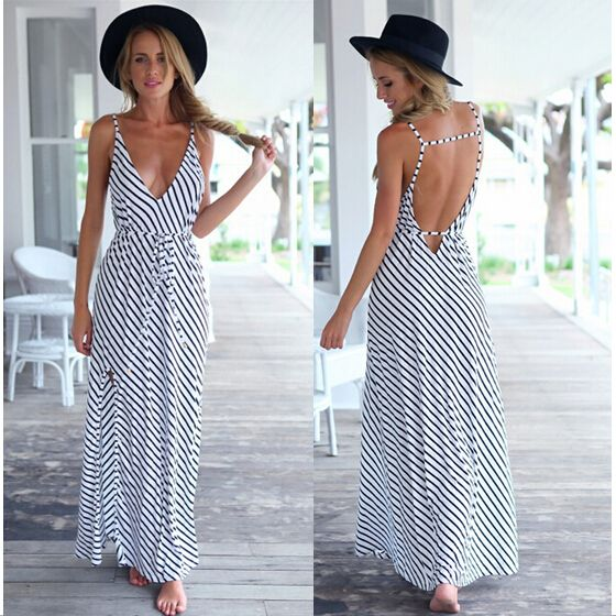 Vestido listrado, longo, branco, sensual, decote profundo em V, costas abertas, corte reto, estilo descolado, moda verão 2015