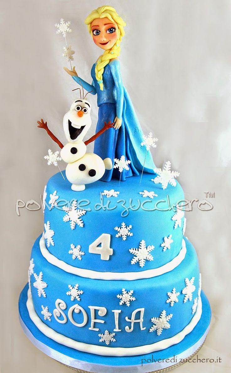 Polvere di Zucchero: cake design e sugar art. Corsi decorazione torte,biscotti,cupcakes e fiori: Torta decorata Frozen cake Disney: Elsa e OLaf in pasta di zucchero