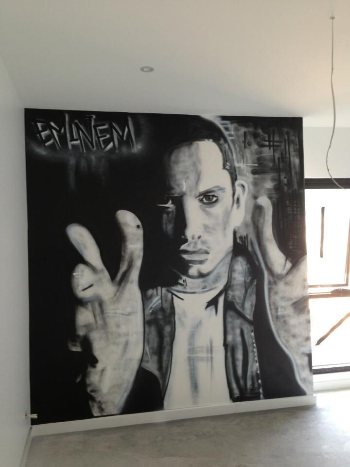 Eminem portrait in a bedroom