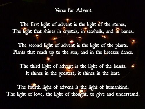 waldorf advent verse - because I always forget - this isn't quite steiners, but i like it better