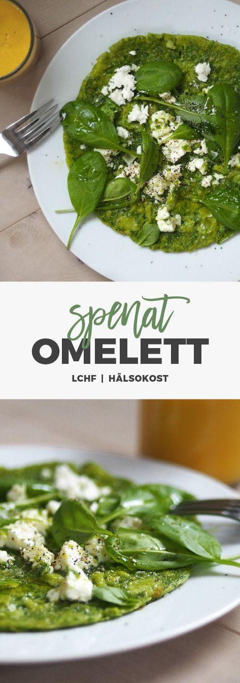 Recept: Spenatomelett med fetaost. LCHF / Hälsokost / Glutenfritt