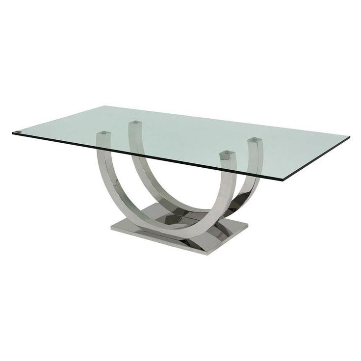 mesa tapa de cristal patas acero dos arcos