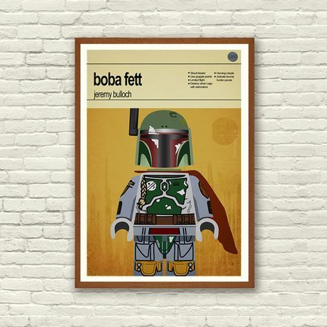 This is a stylish poster print of the Lego Star Wars Boba Fett character, fit to grace any man cave or children's bedroom. Hand drawn with a graphics tablet and pen this print is styled with typography and features the actor who starred as Boba Fett in the original Star Wars trilogy. It also features the Lego Starwars character abilities.