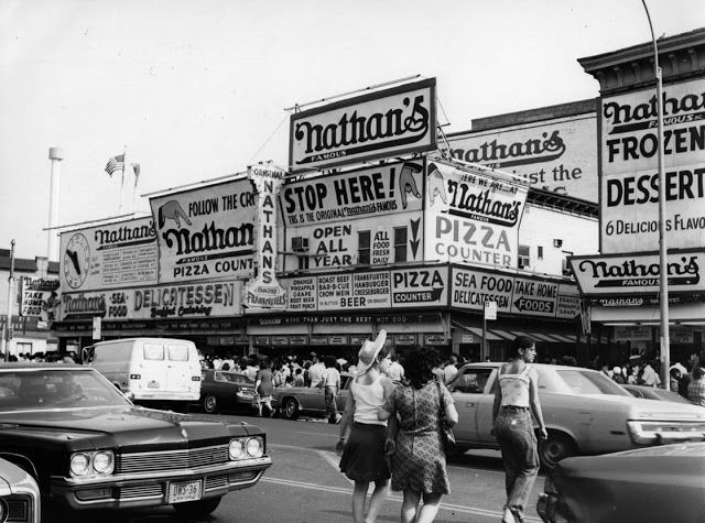 April 1976: Nathan's Famous restaurant in Coney Island