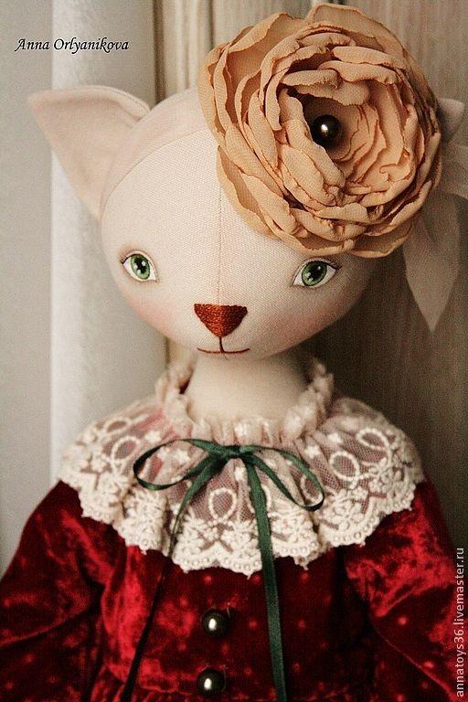 Кошка Дашенька - бордовый,кошка,авторская кукла,ручная работа,бархатное платье
