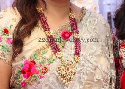 Jewellery Designs: Ruby Beads Long Chain with Locket