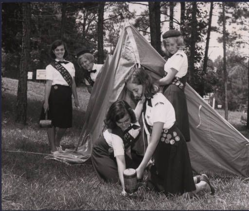 Girl Scouts pitching a pup tent, Atlanta, Georgia, June 1965.  AJCP551-20d, Atlanta Journal Constitution Photographic Archives. Special Collections and Archives, Georgia State University Library.
