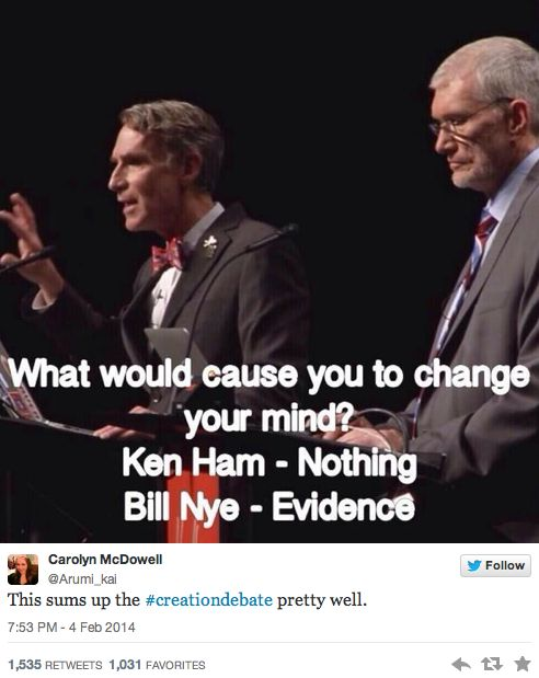 92% of viewers say Bill Nye won the evolution vs. creationism debate. What did you expect? Evolution has evidence and data on its' side. Creationism has one book written by unknown authors on its' side.