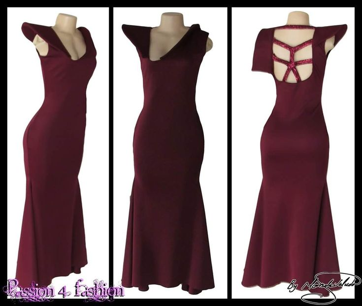 Burgundy tight fitting bridesmaid dress with an angled V neckline design with pop up collar and single pop up cap sleeve. An open back detailed with sequins straps. https://goo.gl/Yr7hiG #mariselaveludo #passion4fashion #bridesmaids #bridesmaidsdress #eveningdress #burgundydress #longdress #weddingretinue