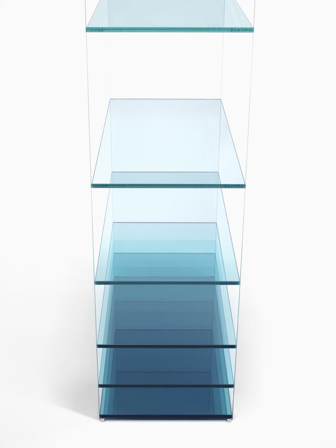 deep-sea by nendo. A collection composed of a low table and shelf for glass manufacturer Glasitalia, known for their superb technical manipulation of colour, cut and adhesion for sheet glass.