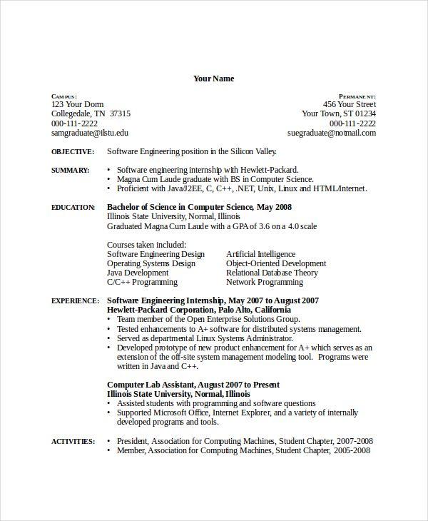 Cv Template Computer Science Cvtemplate