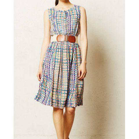 Vintage Cotton Bohemian Plaided Single-Breasted Round Neck Sleeveless Women's Dress