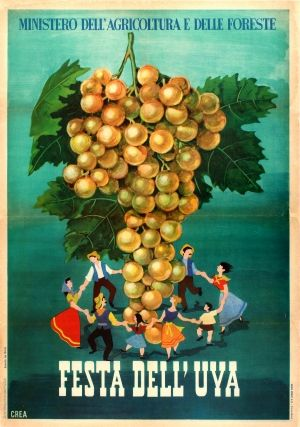 Grape Wine Festival Italy, 1952 - original vintage advertising poster for the Festa dell'Uva listed on AntikBar.co.uk