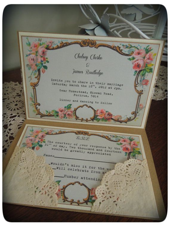 Vintage Kraft shabby chic wedding invitations by VintageCraftsNZ, $6.50