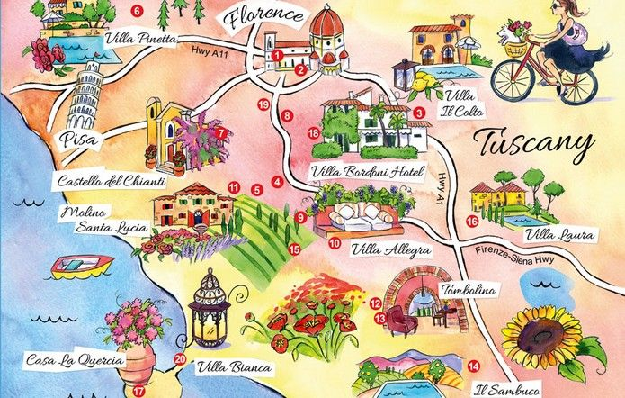 A detailed Map of Tuscany Italy, showing main cities, villages, resorts, roads, towns and beaches. Find out where is Tuscany and get great travel ideas!
