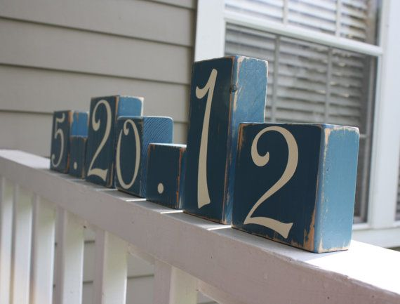 CUSTOM WEDDING BLOCKS - Personalized Bridal Shower Centerpiece - Anniversary Date - Table Numbers - Something Blue Decor on Etsy, $5.50