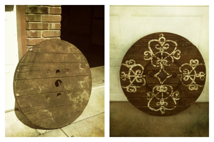 I took an old end of a wire spool and painted, then sanded then stained it! Voila! Free art:)