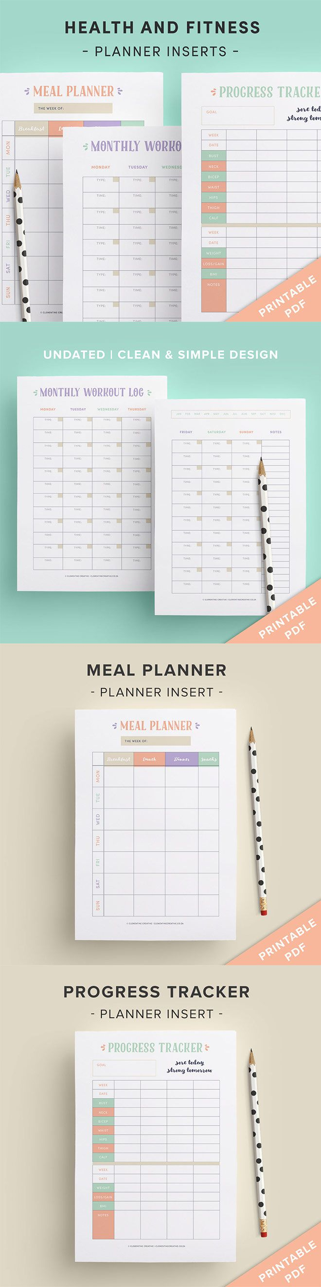This printable health and fitness kit is just what you need to reach your health and fitness goals whilst doing so in a fun and stylish way. Keep track of what you eat, your measurements and weight loss on organised and clean and simple lists. Available in A4, A5 and US Letter sizes. Click here to buy.