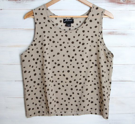 Vintage 80s Retro Polka Dot Taupe Top Slouchy Top by 601VINTAGE, $15.00