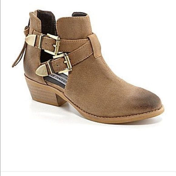 Steve Madden Cinch Taupe Suede Cutout Bootie