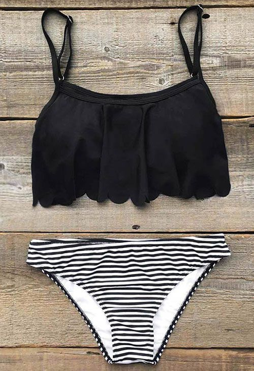 $21.99 Only with free shipping Now! Add some stripes to your beach look! This summer must-have comes in falbala hem&high leg cut! What's more? Get it and you will find out at Cupshe.com