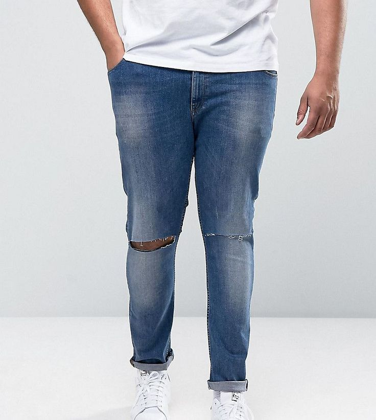 ASOS PLUS Super Skinny Jeans With Knee Rips Mid Blue - Blue