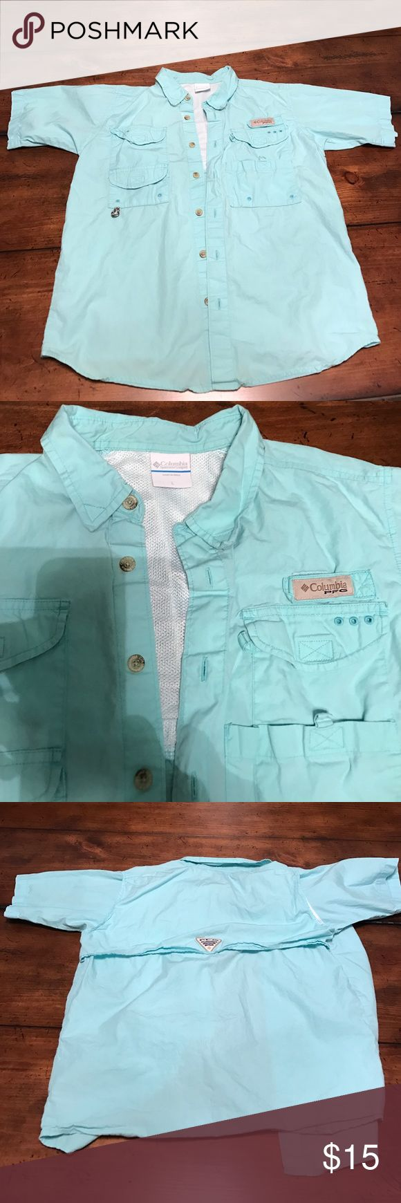 Boys large Columbia pfg shirt Boys large Columbia pfg shirt excellent condition all buttons and everything no rips or tears Columbia Shirts & Tops Button Down Shirts