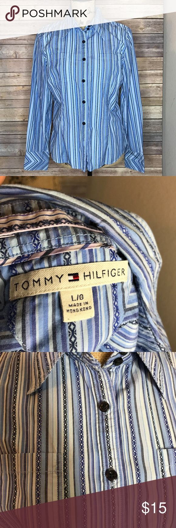 Tommy Hilfiger Blue Tribal Patterned Button Down Long Sleeve Size L ⁉️Need more information or measurements? Please don't hesitate to ask  ❌Sorry, I am unable model items!  ✅ Fast Shipper: Shipping Same Day/Next Day  🚫I do not trade items/ No returns  💕I do accept REASONABLE offers ☺ Please do not offer really low on an item.  The prices in my store are pretty low 🙃 Tommy Hilfiger Tops Button Down Shirts