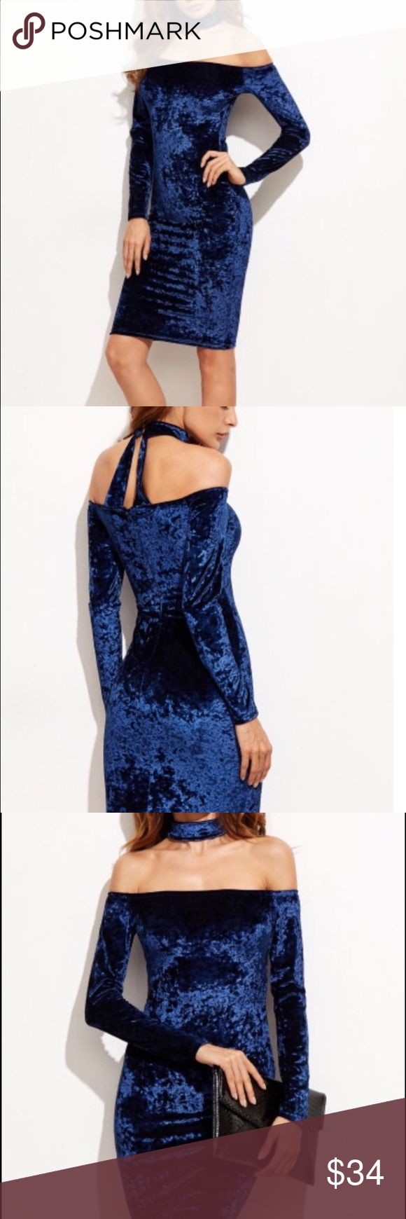 Blue Velvet Choker Cocktail Dress Blue velvet cocktail dress with back detail and attached choker. Bought online and never wore. Size Medium. See pic of description for reference. Dresses Mini