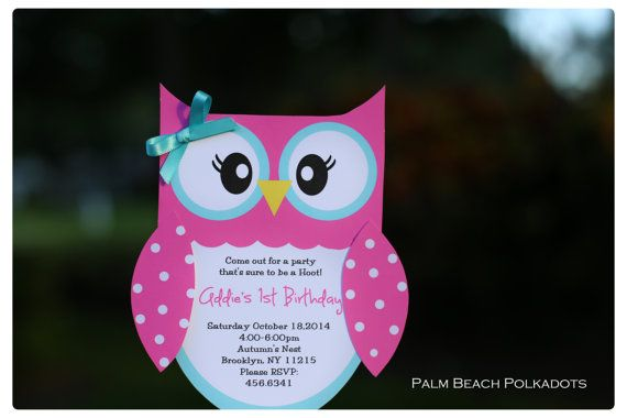 Owl 1st Birthday Invitations by Palm Beach by palmbeachpolkadots, $2.25