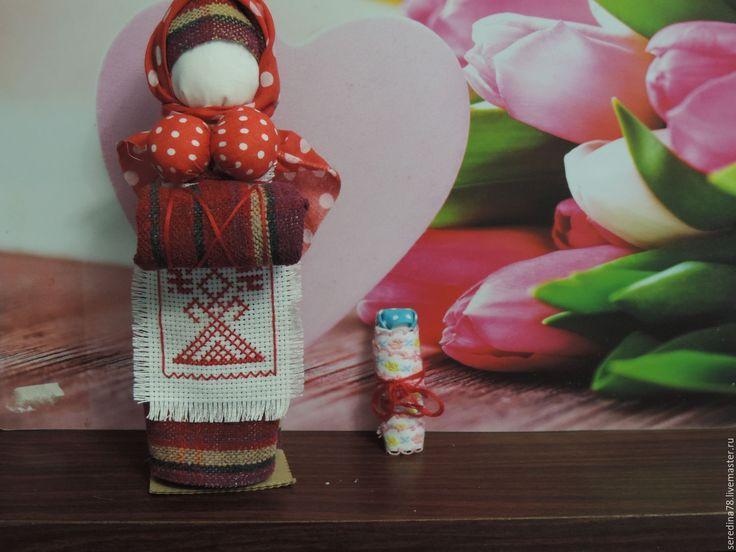 """Купить Кукла -оберег """"На беременность"""" - ярко-красный, береста, синтепон, ребенок, материнство"""