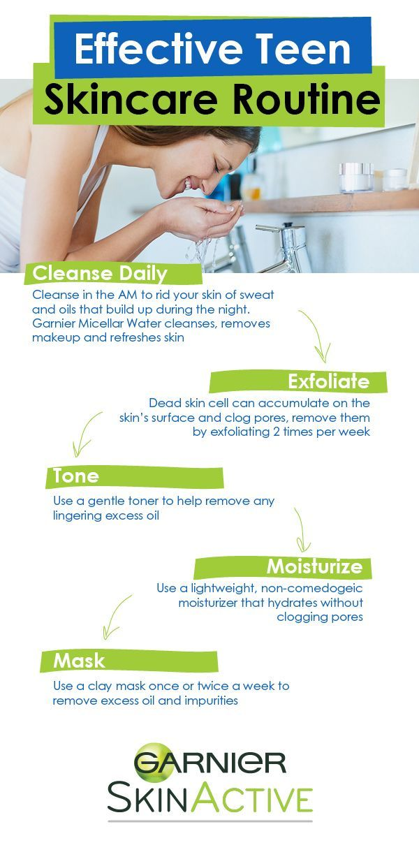 An easy skincare routine for teens has 5 steps: cleanse, exfoliate, tone, moisturize, and mask!  Each step has an important purpose: to help remove dirt and oil, scrub away dead skin cells, hydrate skin without clogging pores (make sure it is non-comedogenic), and remove excess oil and impurities from the skin