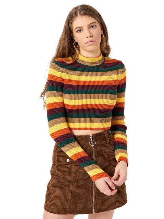 89f884bc38dcc7 Deep Warm Stripes Ribbed Knit Top Crop Womens Ladies Jumper T-shirt Long  Sleeve Turtle Neck Rainbow Vintage Retro Grunge Multi Color Knitted in 2019  ...