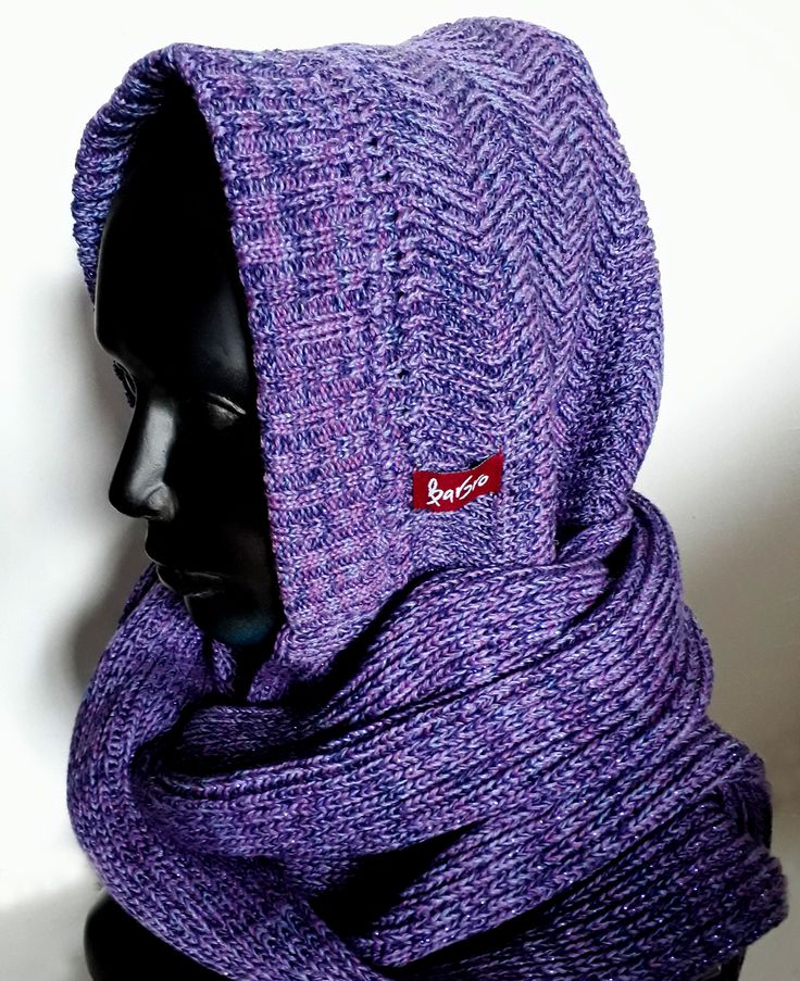 Knitted colorful hoodies scarf from Barbrodesign