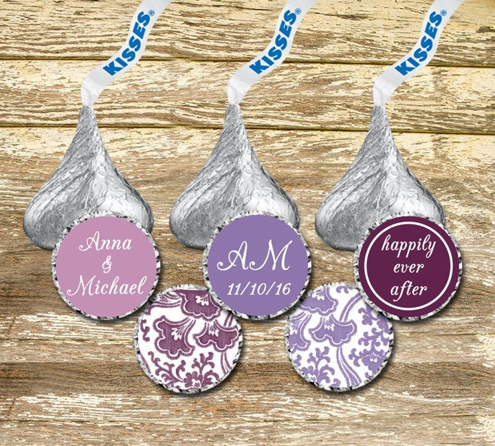 A personal favorite from my Etsy shop https://www.etsy.com/ca/listing/478281603/hershey-kisses-stickers-wedding-purple
