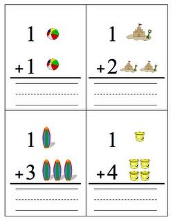Fun in the Sun addition cards from buggyaboutlearninginkindergarten.blogspot.com