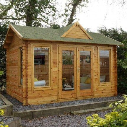 """13'1"""" x 9'11"""" FT (4m x 3m) Wooden Garden Log Cabin Gym Studio"""