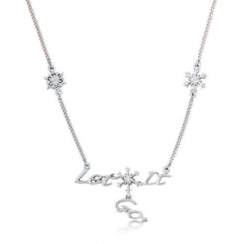 Disney Couture Frozen White Gold Plated Let it Go Necklace