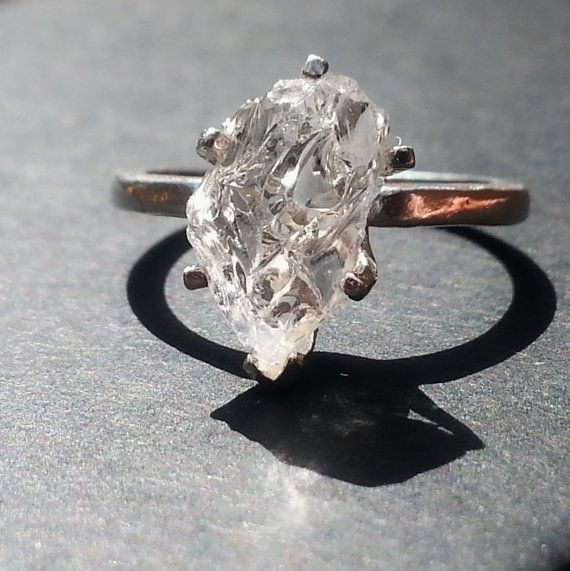 Raw Diamond Ring, Rough Engagement Diamond Ring, Natural