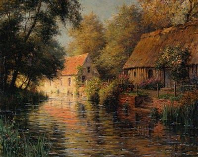 Beautiful Landscape Painting by Louis Aston Knight (1873-1948) American Artist