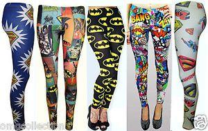 Womens New Ladies Comic Superman Batman Super Hero Leggings Pants Size 8 14   eBay