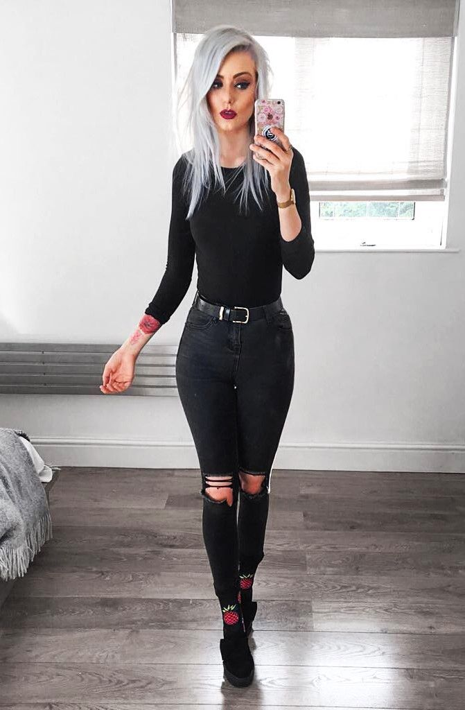 Long sleeved black shirt with black skinny ripped jeans & creepers shoes by vickiamaya