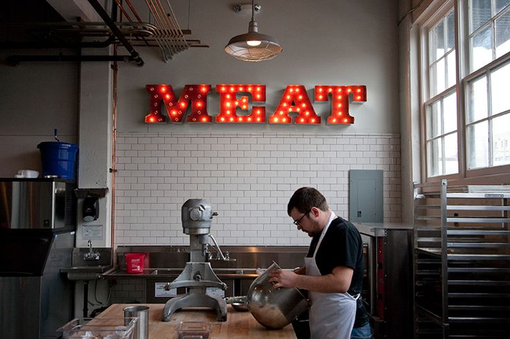 a cool channel lit sign. i like the unexpected in unexpected places.     Olympic Provisions / Branding & Package Design, Logo, Signage / The Official Manufacturing Company