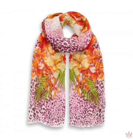 Leopard Flower Ambush Fuxia Linen Stole 100% Linen. Luxury high quality made in Italy by Fulards.com free shipping.