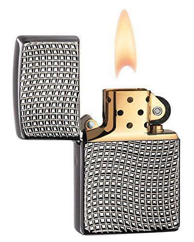 Zippo Armor Brite Cut High Polish Black Ice Squares Pocket Lighter #ZippoManufacturingCompany
