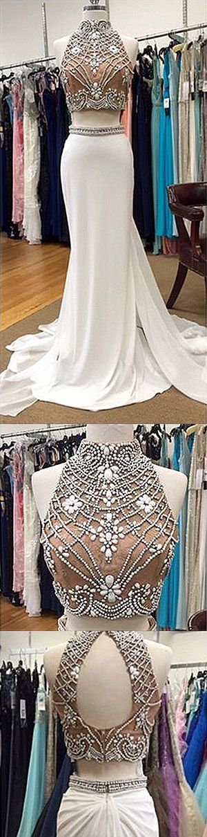 White Prom Dresses Long, 2018 Formal Dresses Mermaid, Lace Party Dresses High Neck, Chiffon Evening Gowns Beading