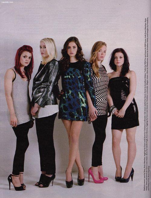 "Skins 2nd generation girls; Emily Fitch (Kathryn Prescott), Naomi Campbell (Lily Loveless), Effy Stonem (Kaya Scodelario), Pandora Moon (Lisa Backwell), Katie ""Fuckin"" Fitch (Megan Prescott)"